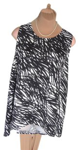 Lord & Taylor Tailored Top BLACK AND WHITE PRINT