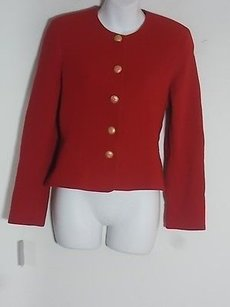 Louis Feraud Louis Feraud Red Wool Gold Button Peplum Blazer Jacket