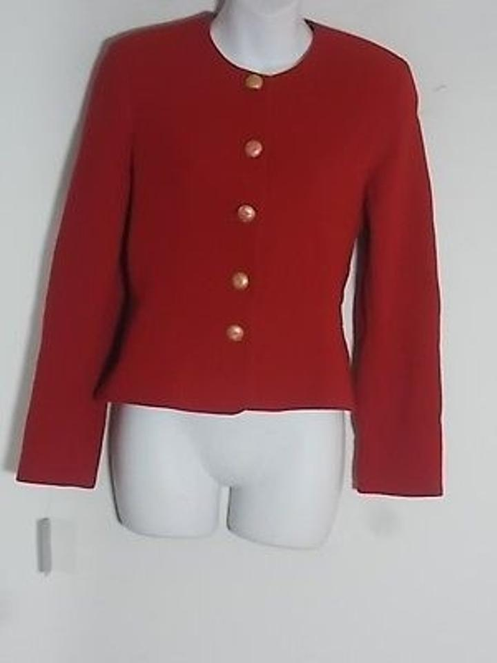 Louis Feraud Red Wool Gold Button Peplum Blazer Jacket