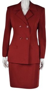 Louis Feraud Feraud Womens Red Skirt Suit Wool Wtw Below Knee Career Jacket