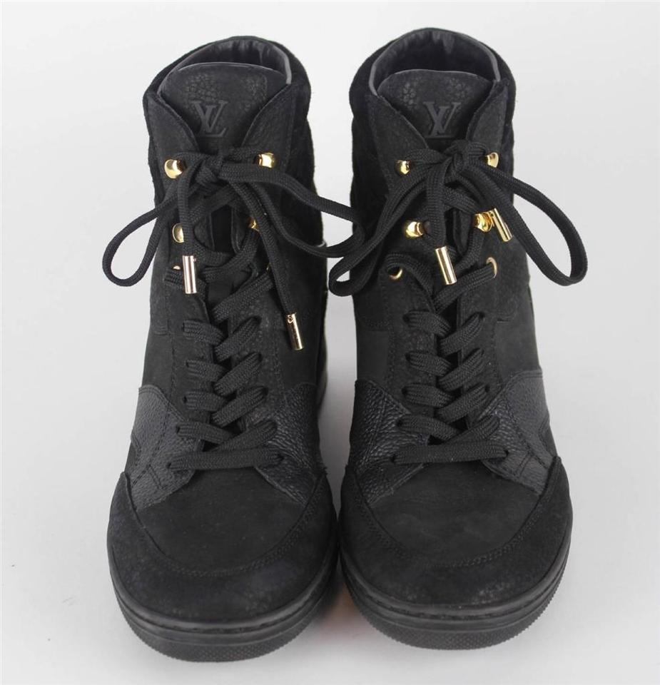 Louis Vuitton Black Boots Ladies Black Nubuck Leather ...