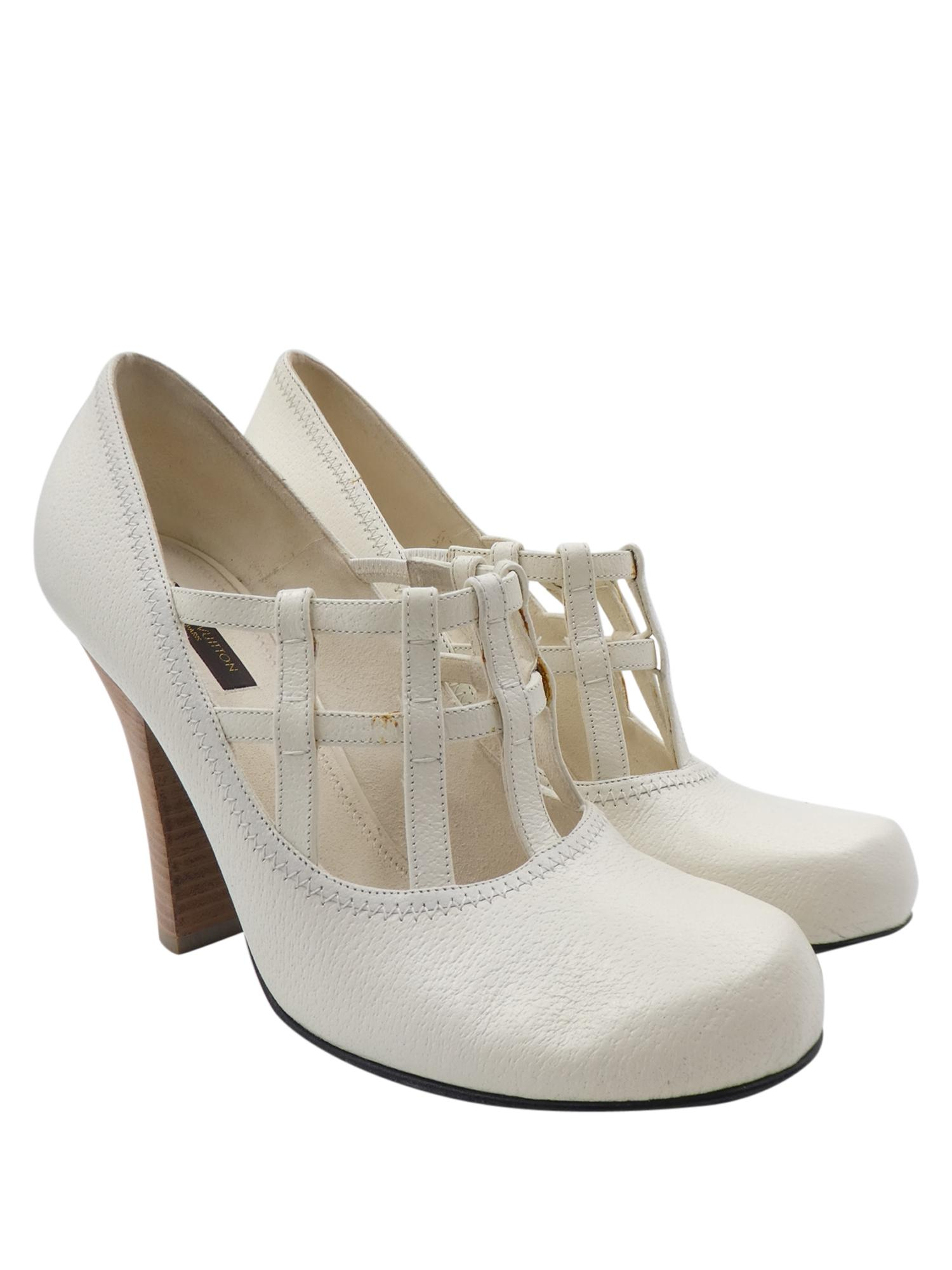 Louis Vuitton Wedding Shoes Chunky Mary Jane Heels White Pumps