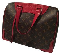 Louis Vuitton Leather Canvas Monogram Tote in Brown/Red