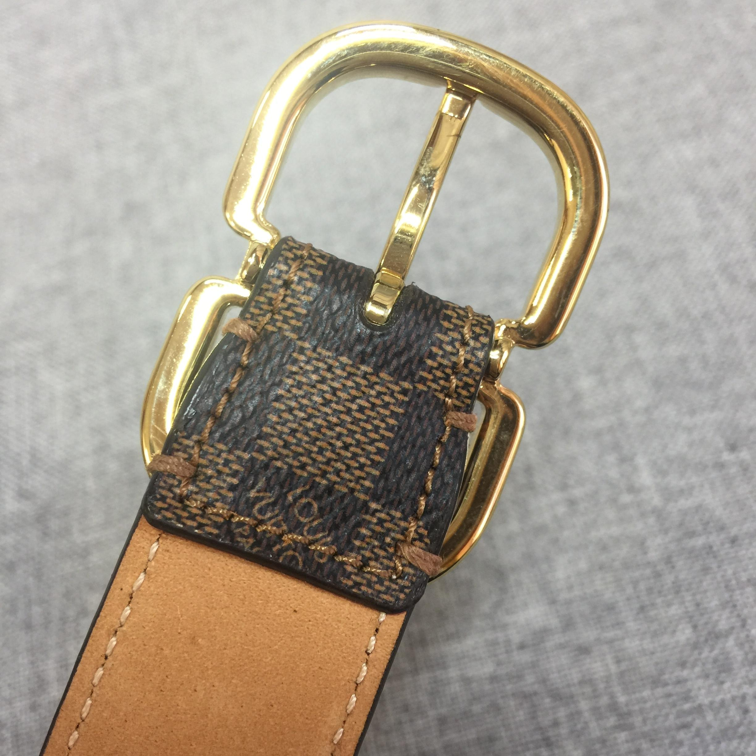 louis vuitton brown damier ebene belt tradesy