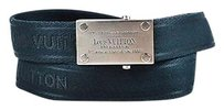 Louis Vuitton Louis Vuitton Navy Canvas Silver Rectangle Buckle Belt