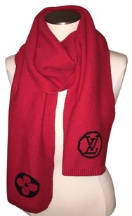 Louis Vuitton Louis Vuitton BEAUTIFUL Monogram LV Red Cerise Cherry And Black Accent Knit College Scarf Wrap Stole