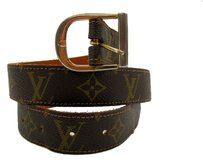 Louis Vuitton LV Vintage Louis Vuitton Brown Monogram Canvas Saks Fifth Avenue Leather Belt Gold Buckle Size 30