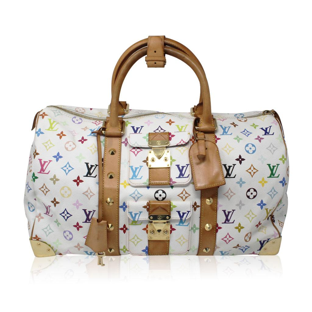 Louis Vuitton Murakami Keepall 45 White Handbag Travel White ...