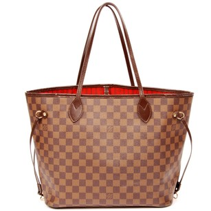 Louis Vuitton Neverfull Mm Damier Canvas Leather Neverfull Tote in Brown