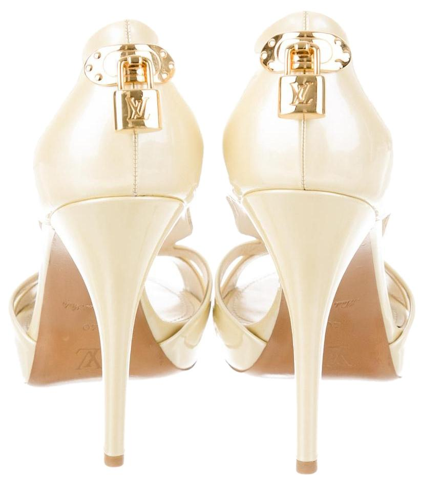 Louis Vuitton Wedding Shoes Patent Leather Gold Hardware Lock Lv Oh Really Ivory