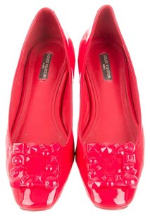Louis Vuitton Patent Patent Leather Square Toe Ballerina Ballet Embellished Textured Lv Logo Monogram 39 9 New Buckle Red Flats