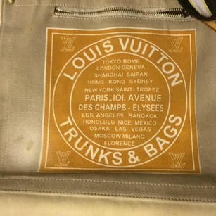 Louis Vuitton Tote in beige and green with blue and white stripe handles