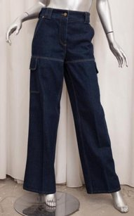Louis Vuitton Womens Classic Blue Cotton Denim Cargo 408 Trouser/Wide Leg Jeans