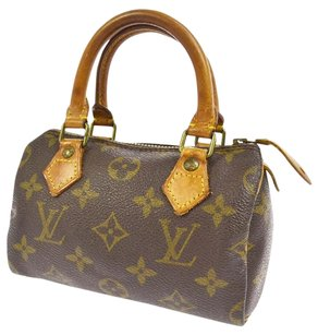 Louis Vuitton Vintage Leather Monogram Chic Social Satchel in Brown