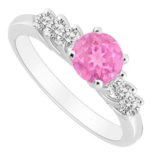 LoveBrightJewelry 10K White Gold Created Pink Sapphire and Cubic Zirconia Engagement Ring 0.50 CT TGW
