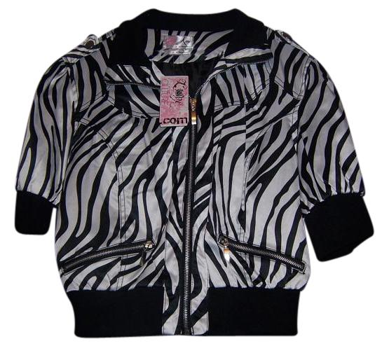 Love Culture Zebra Animal Print Satin School Coat Black and White Jacket ...