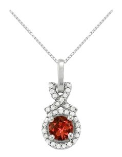 LoveBrightJewelry January Birthstone Garnet with CZ Halo Pendant in 925 Sterling Silver