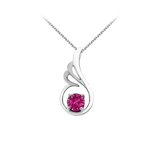 LoveBrightJewelry September Birthstone Pink Sapphire Pendant In 925 Sterling Silver With Free Chain Fab Price
