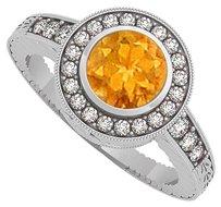 LoveBrightJewelry Citrine and CZ Engagement Ring in 925 Sterling Silver