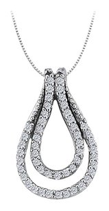 LoveBrightJewelry 0.25 Carat Double Teardrop Pendant with Cubic Zirconia Sterling Silver with Fine Silver Chain