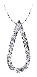 LoveBrightJewelry 0.25 Carat Teardrop Gemstone Pendant with Cubic Zirconia 14K White Gold with White Gold Chain