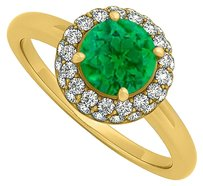LoveBrightJewelry 0.75 CT Created Emerald and Cubic Zirconia Halo Engagement Ring 14K Yellow Gold