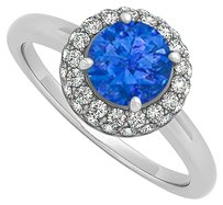 LoveBrightJewelry 0.75 CT Created Sapphire and Cubic Zirconia Halo Engagement Ring 14K White Gold
