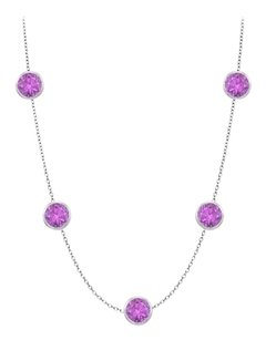 LoveBrightJewelry 1 carat amethyst by the yard station necklace in white gold 14K Cable Chain Double Up
