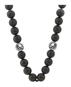 LoveBrightJewelry 10 MM Beads and Black Onyx Necklace with 14K White Gold filigree lock