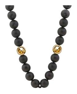 LoveBrightJewelry 10 MM Beads and Black Onyx Necklace with 14K Yellow Gold filigree lock