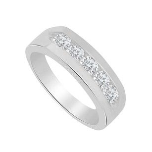 LoveBrightJewelry 1.00 Carat Channel Set Cz 925 Sterling Silver Men Ring