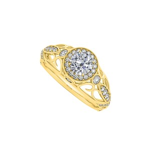 LoveBrightJewelry 1.00 Carat Natural Diamonds Filigree Style Halo Ring