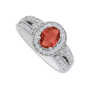 LoveBrightJewelry 1.00 Carat Oval Ruby Cz Halo Engagement Ring In Silver