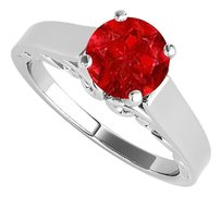 LoveBrightJewelry 1.00 Carat Ruby Solitaire Ring in 925 Sterling Silver