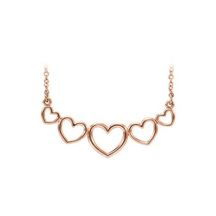 LoveBrightJewelry 14K Rose Gold Vermeil Graduated Open Heart Necklace