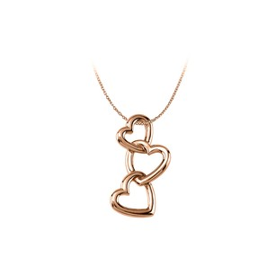 LoveBrightJewelry 14K Rose Gold Vermeil Linked Hearts Pendant For Her