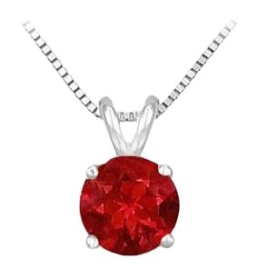 LoveBrightJewelry 14K White Gold Prong Set Created Ruby Solitaire Pendant 0.50 CT TGW