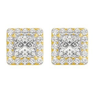LoveBrightJewelry 14K Yellow Gold Halo Stud Earrings with Cubic Zirconia