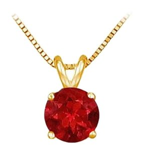 LoveBrightJewelry 14K Yellow Gold Prong Set Created Ruby Solitaire Pendant 0.75 CT TGW