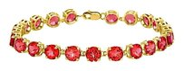 LoveBrightJewelry 14K Yellow Gold Prong Set Round Ruby Bracelet 12 CT TGW
