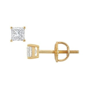 LoveBrightJewelry 18K Yellow Gold Princess Cut Diamond Stud Earrings 0.10 CT. TW.