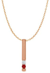 LoveBrightJewelry 2 Stone CZ Ruby Vertical Bar Pendant Rose Gold Vermeil