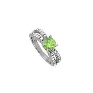 LoveBrightJewelry Round Peridot And Cubic Zirconia Split Shank Engagement Ring