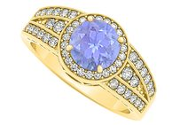LoveBrightJewelry Tanzanite And Cz Three Row Pattern Engagement Ring