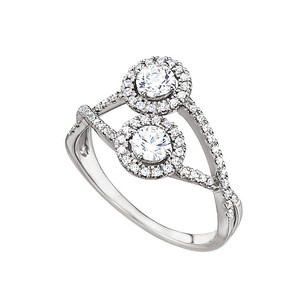 LoveBrightJewelry Cross Over Cz Two Stone Ring In 925 Sterling Silver