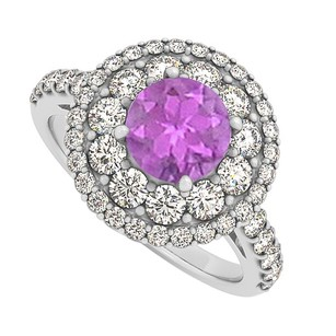 LoveBrightJewelry Amethyst And Cz Halo Engagement Ring In Sterling Silver