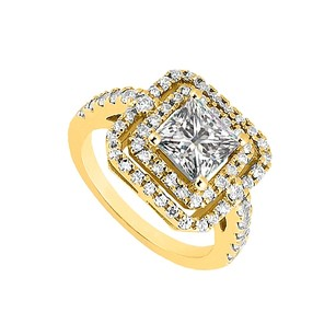 LoveBrightJewelry Cubic Zirconia Halo Engagement Rings In 18k Yellow Gold Vermeil