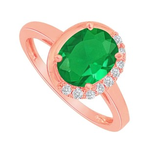 LoveBrightJewelry Emerald And Cz Engagement Ring In 14k Rose Gold