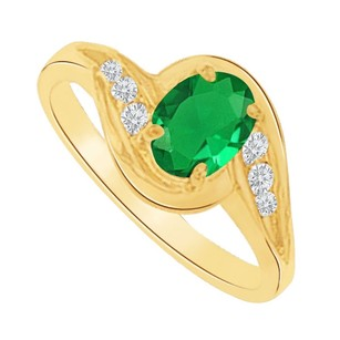 LoveBrightJewelry Emerald And Cz Swirl Engagement Ring In 14k Yellow Gold