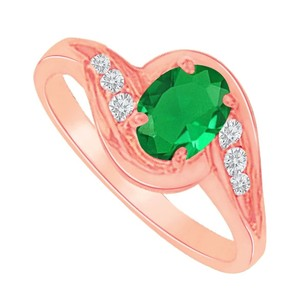 LoveBrightJewelry Fab Emerald And Cz Semi Swirl Ring In 14k Rose Gold